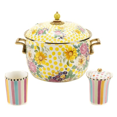 """MacKenzie-Childs """"Buttercup"""" Stockpot with """"Ribbon & Dot"""" Cup and Bath Canister"""