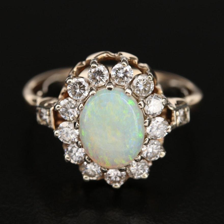 14K Opal and Diamond Halo Ring