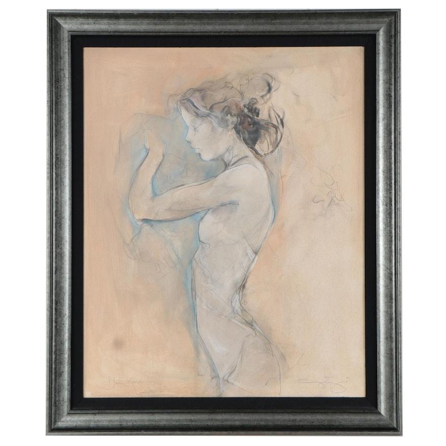 "Jurgen Gorg Large-Scale Mixed Media Drawing ""Blue Kisses,"" 2001"