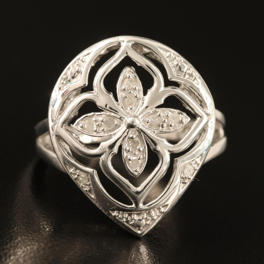 Sterling Diamond Floral Openwork Ring