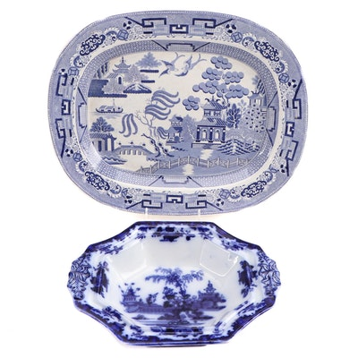 Staffordshire English Bone China Plate and T & C. Alcoor Flow Blue Serving Dish