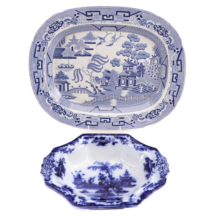 Staffordshire English Ironstone Platter and L&G Alcock Flow Blue Serving Dish