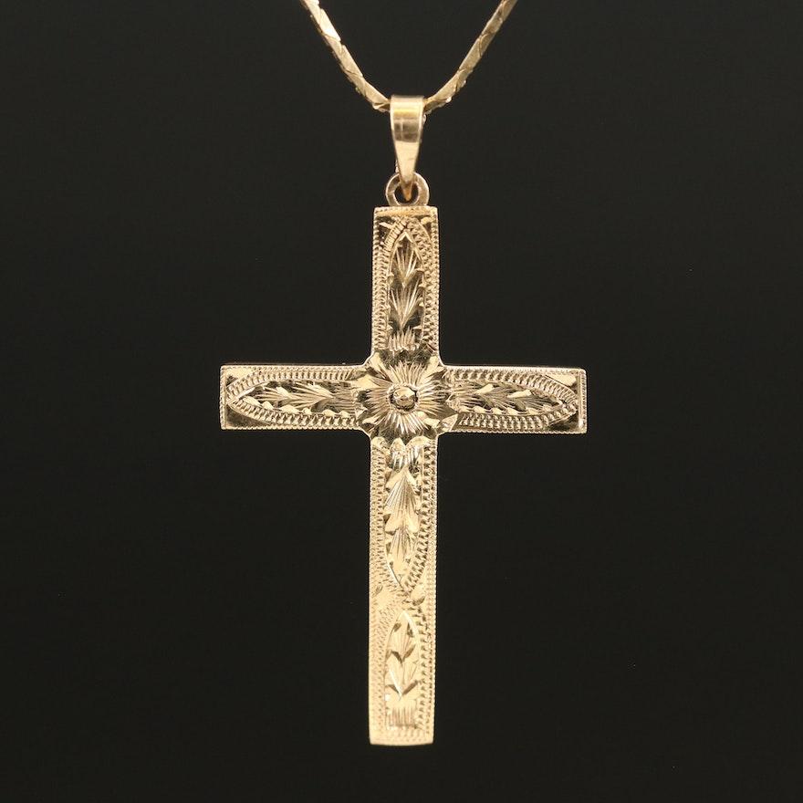 14K Engraved Cross Pendant Necklace