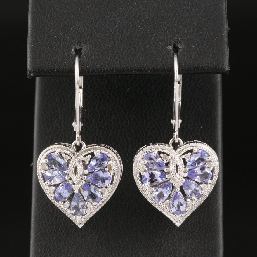 Sterling Tanzanite and Diamond Heart Earrings