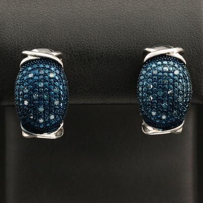 Sterling Diamond J-Hoop Earrings