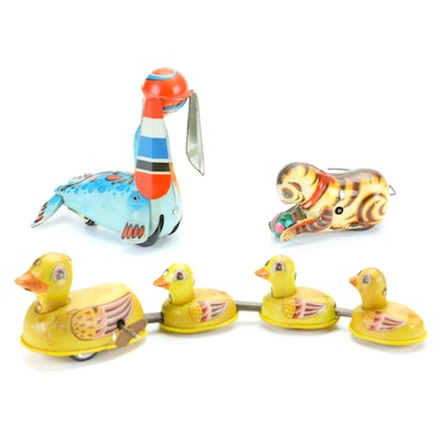 Seal with Ball, Ducks, and Cat with Ball Tin Litho Wind-Up Toys