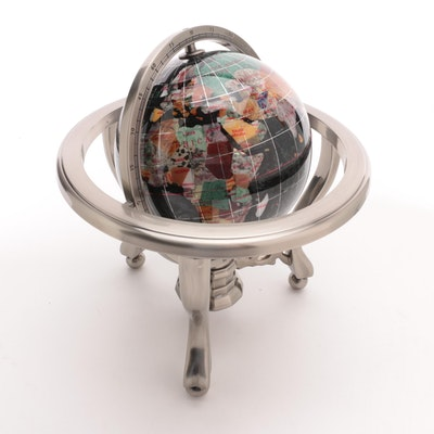 Black Onyx, Marble and Gemstone World Globe with Compass and Metal Tripod Stand