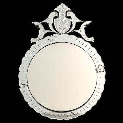 Art Deco Style Reverse Etched Wall Mirror with Bird Motif Crest