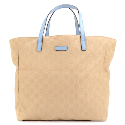 Gucci Tote Bag in GG Light Tan Nylon and Blue Leather