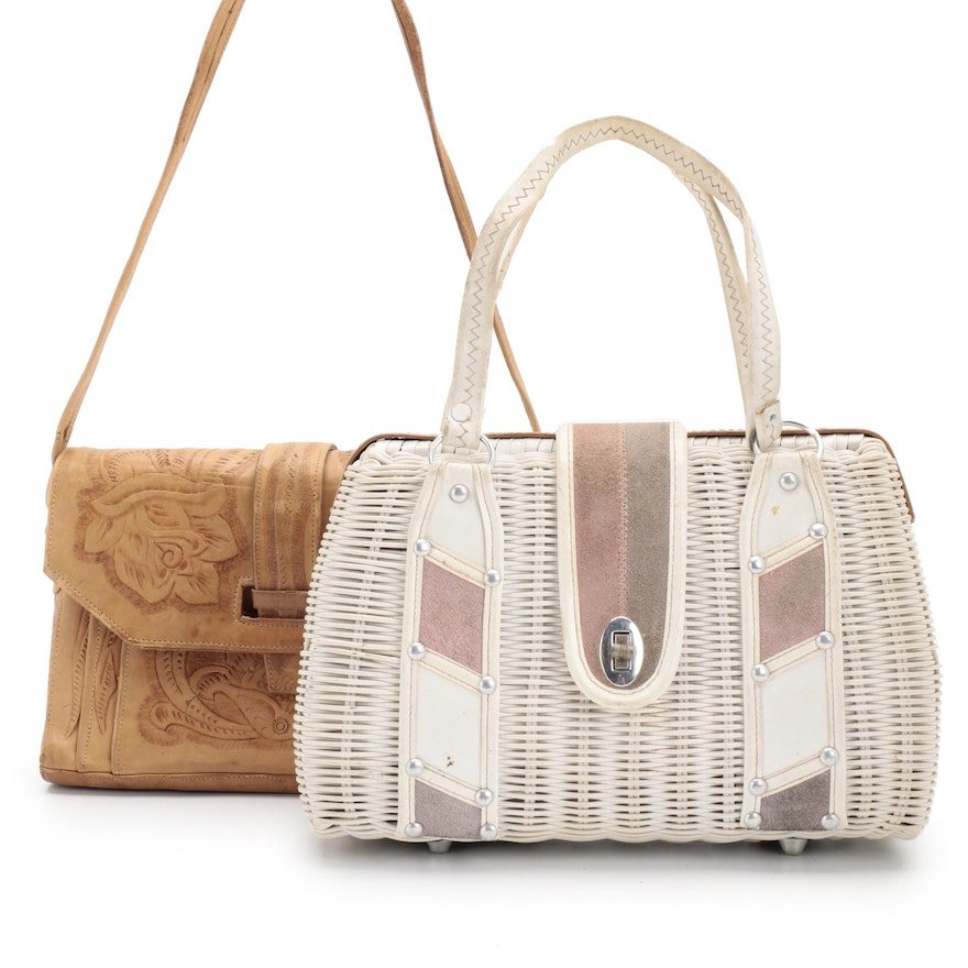 Bounty White Wicker Purse with Faux Suede Trim and Tooled Leather Shoulder Bag