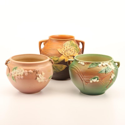 """Roseville Pottery """"Water Lily"""", """"Apple Blossom"""" and """"Snowberry"""" Jardinières"""