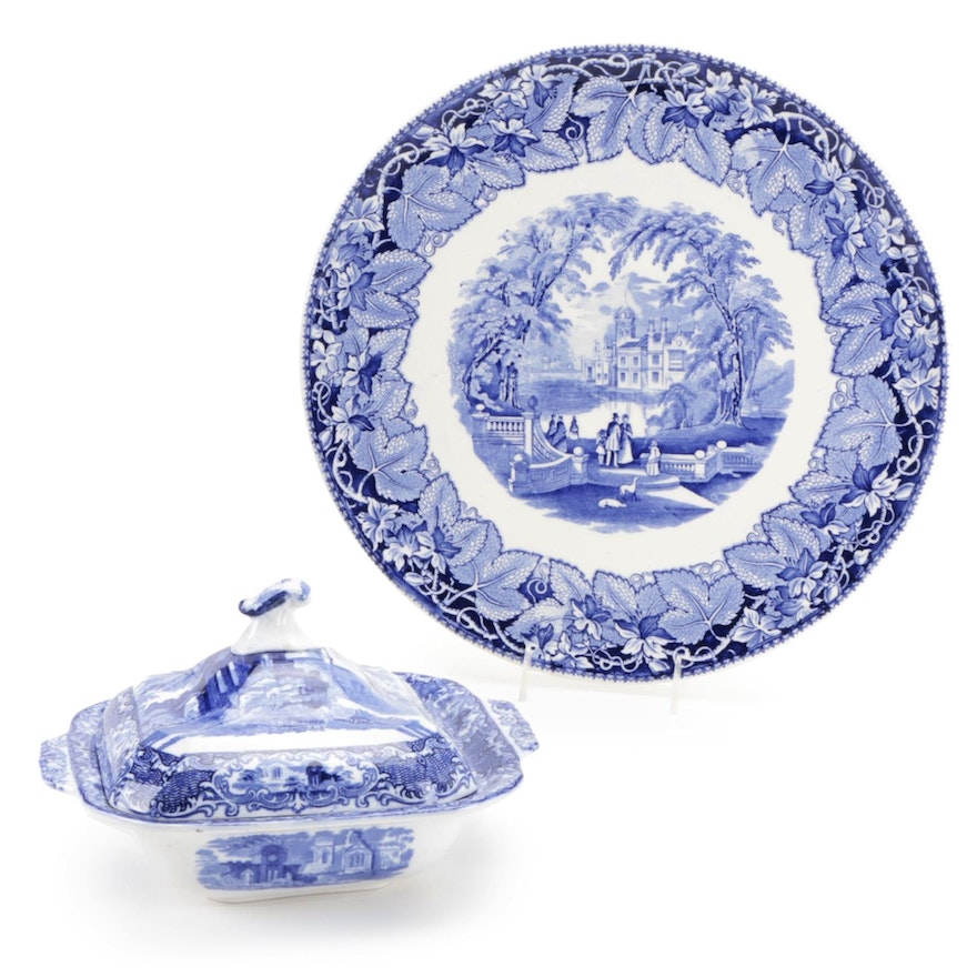 """English Mason's """"Vista"""" Covered Dish and George Jones & Sons """"Abbey"""" Plate"""