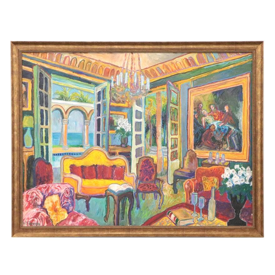 William Bradley Thompson Large-Scale Mixed Media Painting, Circa 2000