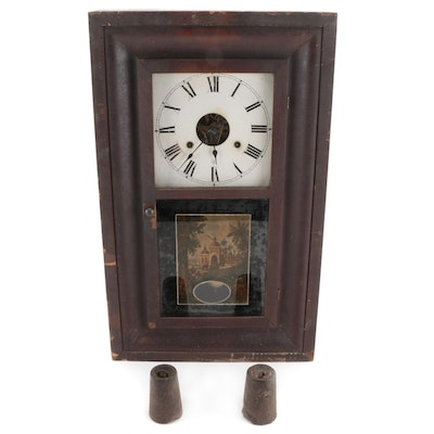 Seth Thomas Shelf Clock with Reverse Painted Glass, Late 19th to Early 20th C.