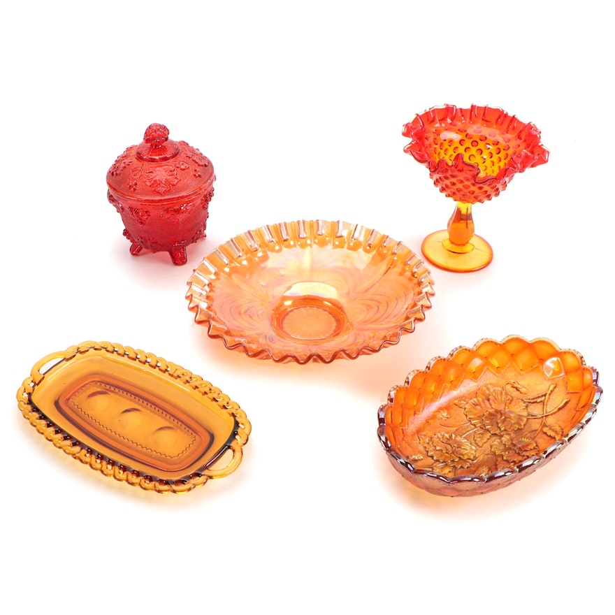Imperial Marigold Carnival Glass Bowls and Other Pressed Glass Tableware