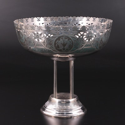 Iranian 875 Silver Chased Centerpiece Bowl, 20th Century