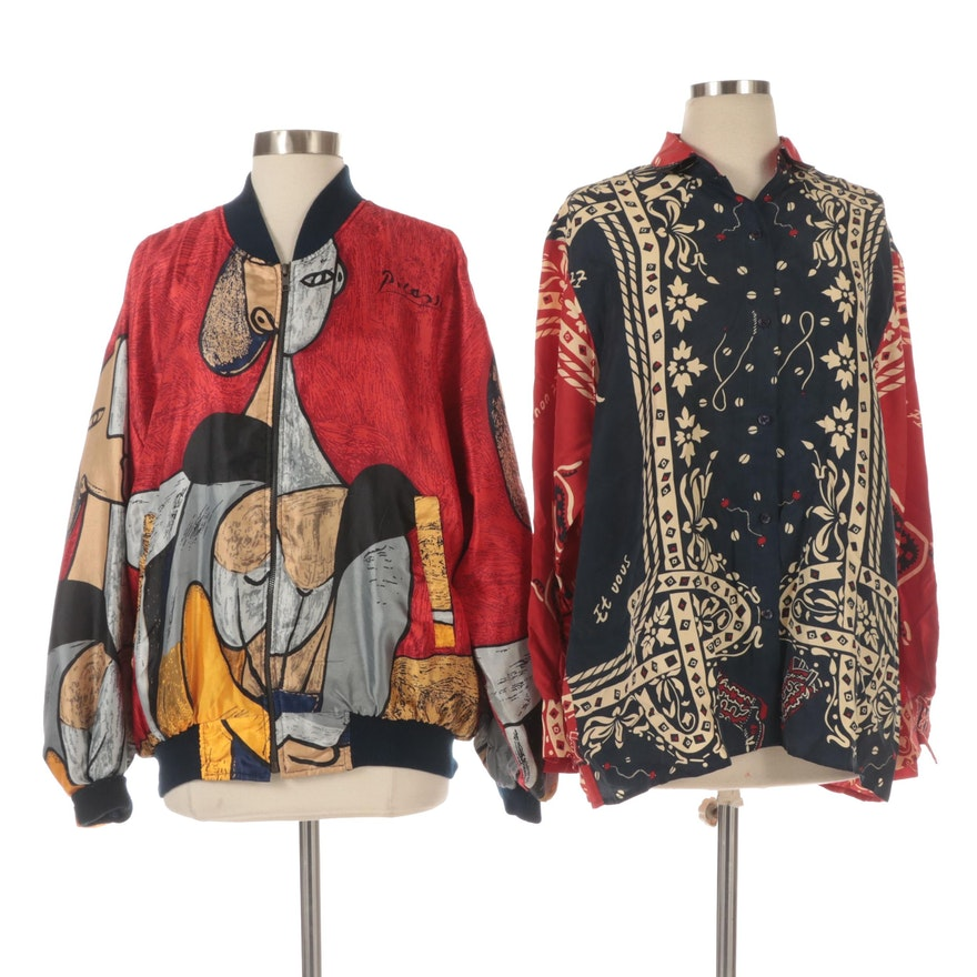 Et Vous and Très-Beau Patterned Silk Button-Down Shirt and Jacket