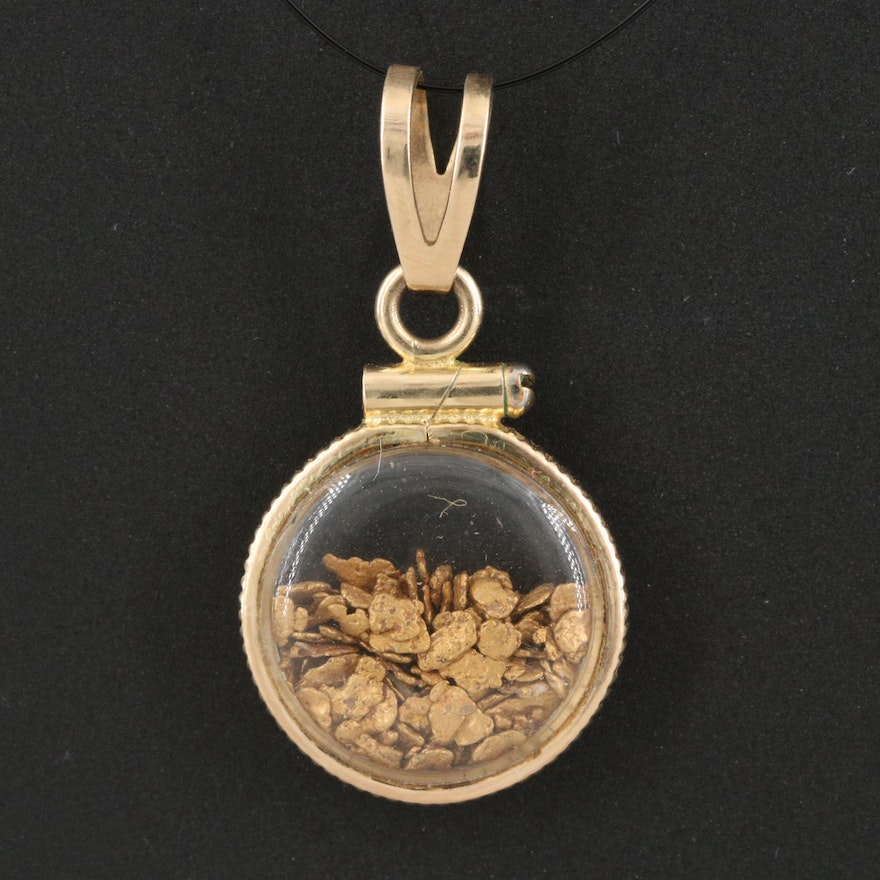 Vintage 14K Pendant Containing 21K Native Gold Nuggets