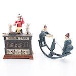 Kyser & Rex Cast Iron Bank and Cast Iron Rocking Clowns Novelty Toy