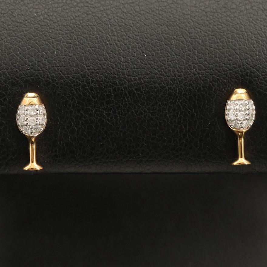 Sterling  Pavé Diamond Wine Glass Earrings
