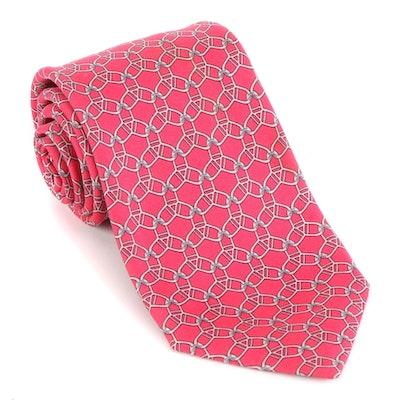 Hermès 7075 OA Chain-Link Print Hand-Stitched Silk Twill Tie