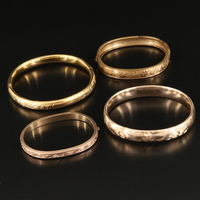 Antique and Vintage Gold Filled, Engraved Hinged Bangle Selection