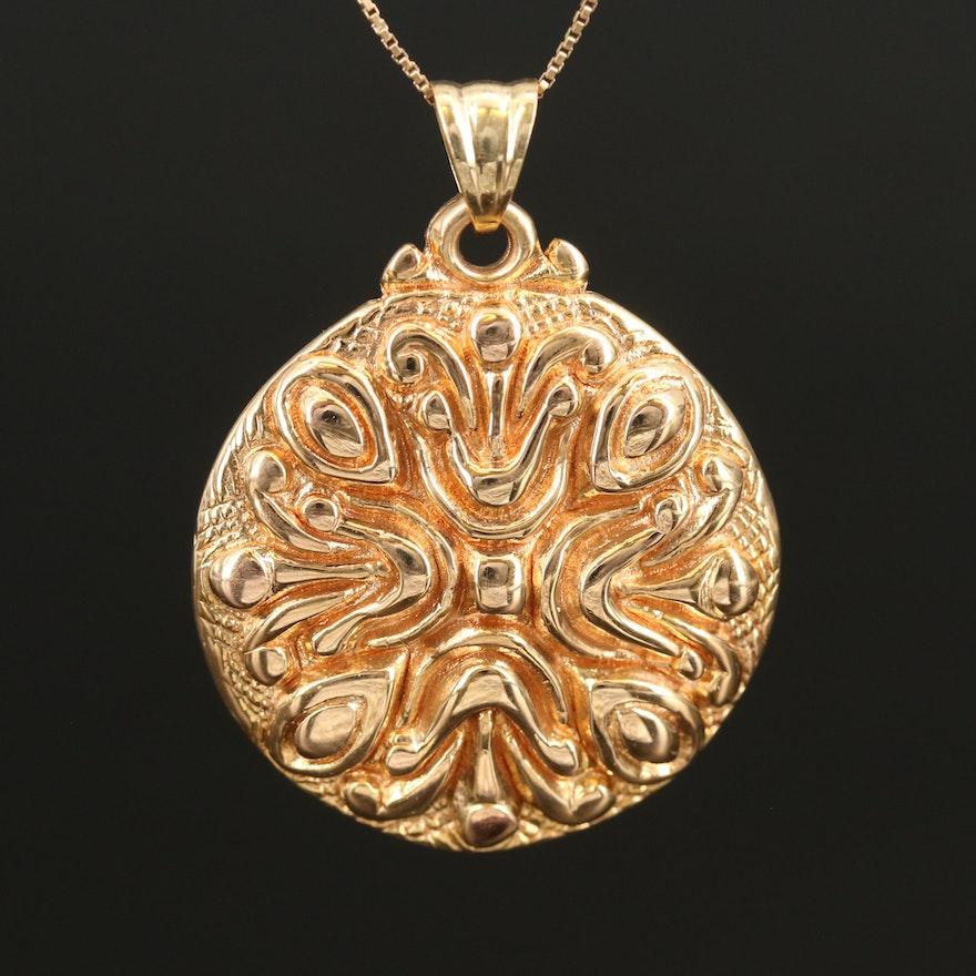 Italian 14K Scrollwork Pendant Necklace