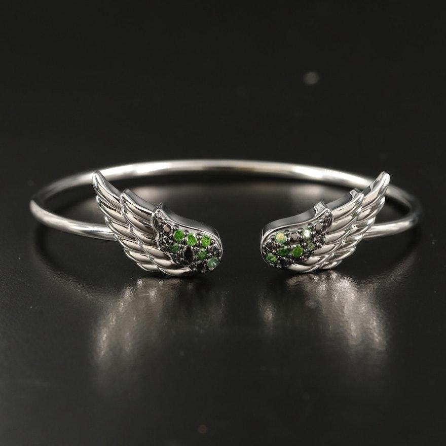 Sterling Green Diamond Wing Cuff