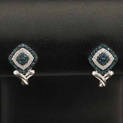 Sterling Diamond and Cubic Zirconia J-Hoop Earrings