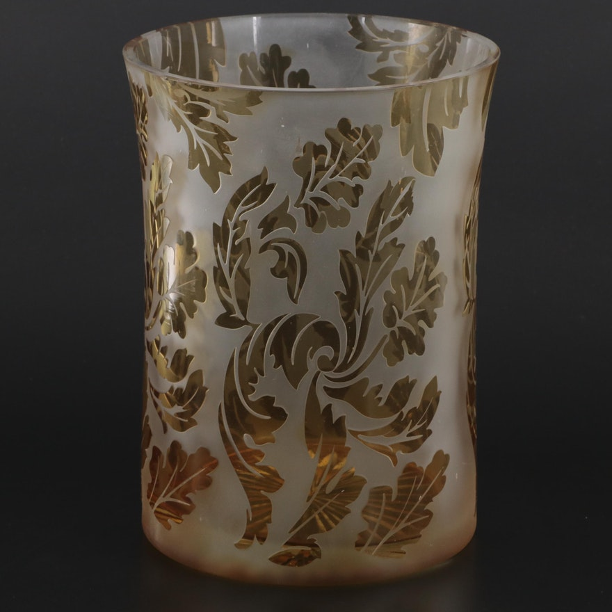 Tozai Home Frosted Etched to Amber Scrolled Foliate Vase