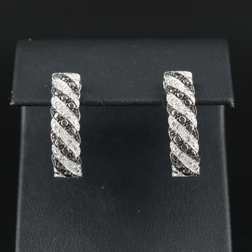 Sterling Diamond Braided Hoop Earrings