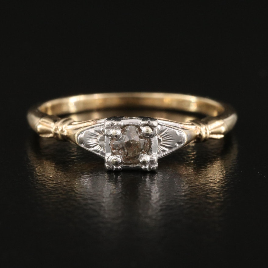 1940s 14K 0.08 CT Diamond Ring with Palladium Setting