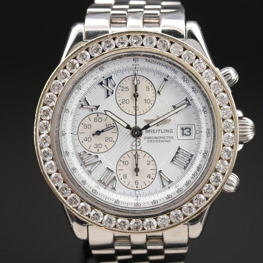 Breitling Crosswind Chronometre Stainless Steel 4.20 CTW Diamond Wristwatch