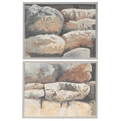 """Gale Ray Mixed Media Paintings """"Shepherd Rocks I"""" and """"Shepherd Rocks II,"""" 1994"""