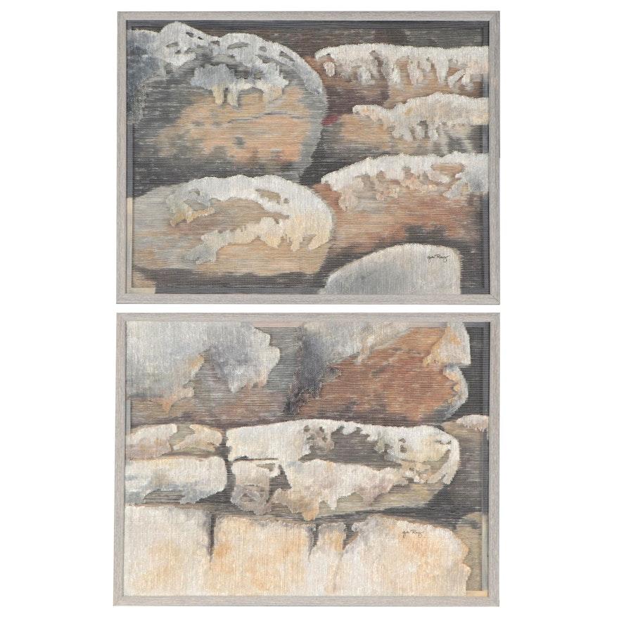 "Gale Ray Mixed Media Paintings ""Shepard Rock I"" and ""Shepard Rock II,"" 1994"