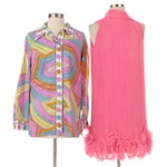 Pleated and Ruffle Embellished Dress with Alex Colman Printed Button Down Shirt