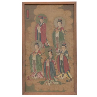 Chinese Gouache and Watercolor Painting on Silk