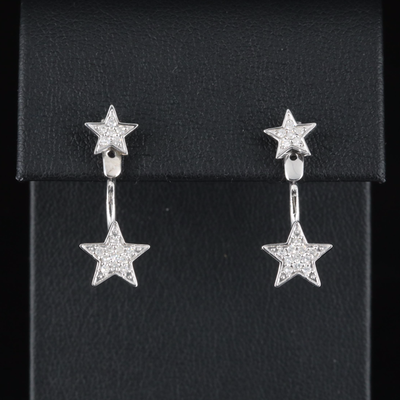 Sterling Diamond Star Stud Earrings with Enhancers
