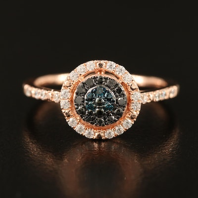 Sterling Diamond and Cubic Zirconia Ring