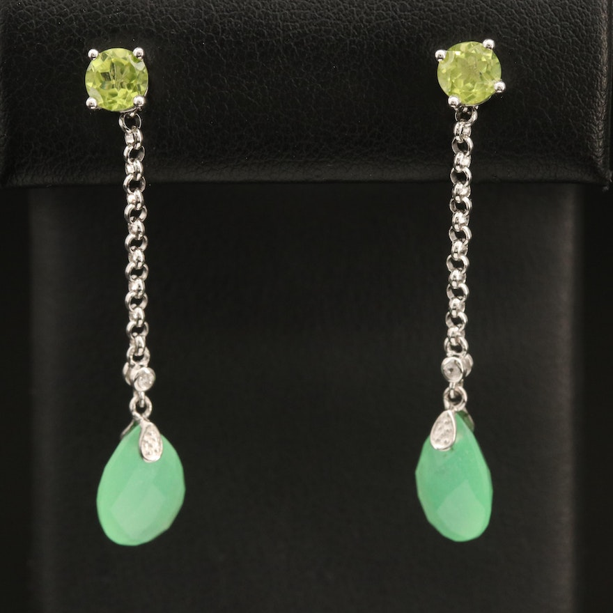 Sterling Peridot Stud Earrings with Quartz and Topaz Drop Enhancers