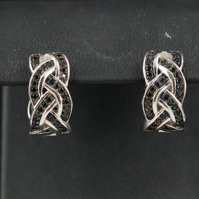 Sterling Onyx Braided Inside-Out Hoop Earrings