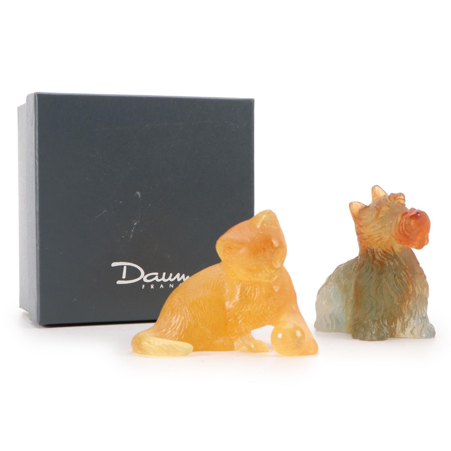 Daum Pâte de Verre Glass Cat and Scottish Terrier Figurines