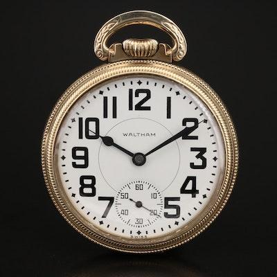 Vintage Waltham 10K Rolled Gold Plate Open Face Pocket Watch