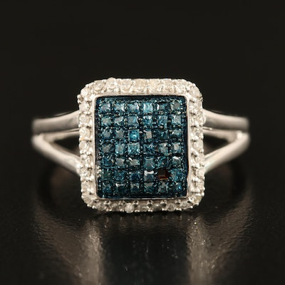Sterling Silver Diamond Ring with Split Shoulders