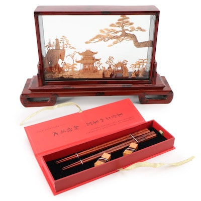 Chinese Cork Scenic Carved Diorama in Lacquer Case with Yunhong Wood Chopsticks
