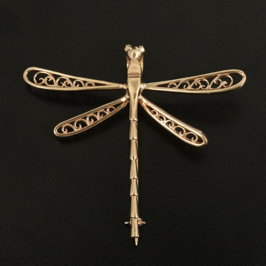 14K Dragonfly Converter Brooch