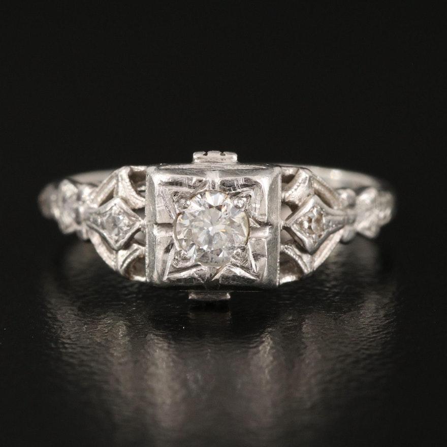 1950s Platinum Diamond Ring