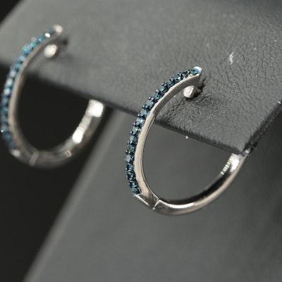 Sterling Blue Diamond Hoop Earrings