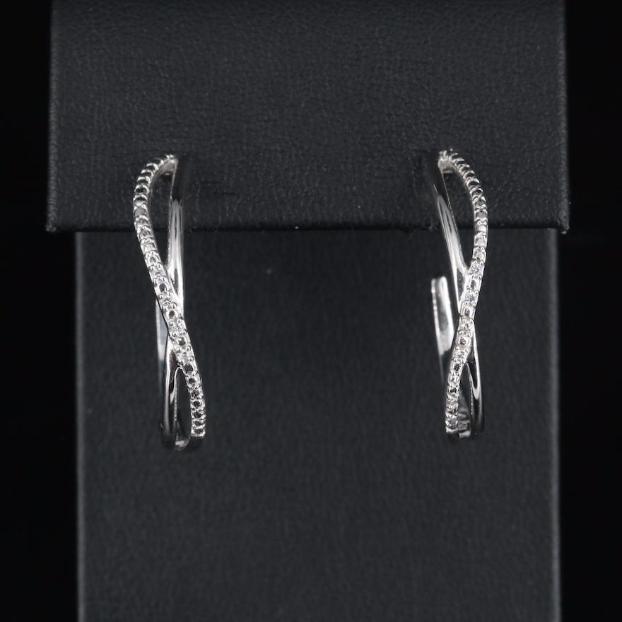 Sterling Cubic Zirconia Crossover Hoop Earrings