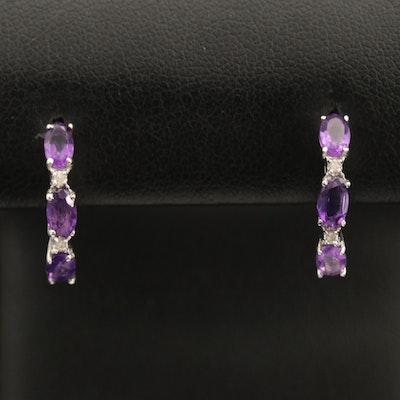 Sterling Amethyst and Diamond J Hoop Earrings